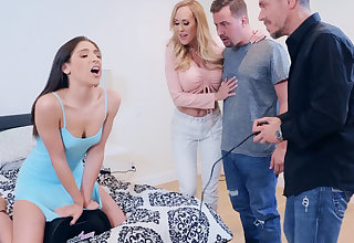 Sexy wife in foursome sex with neighbors