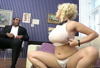 Extremely wild busty white cowgirl Angel Wicky gets pussy stretched by BBC