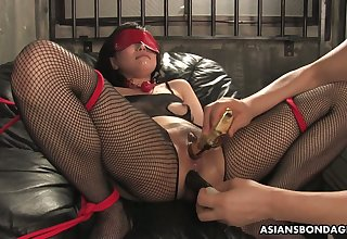 Asian prostitute in ripped body fishnets Kana Mimura gets double penetrated