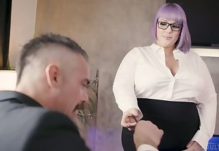 Nasty BBW secretary seduces and fucks her handsome boss Charles Dera
