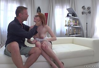 Nerdy redhead with incompetent boobies Candy Red is brutally fucked by Rocco