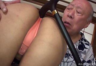 Asian girl wants to try every posible sex pose with her superannuated friend
