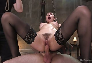 Lewd quite plump submissive whore Melissa Moore rides sting cock