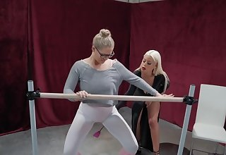 Bridgette B increased by four more blonde sweeping enjoy lesbian fuck on the floor