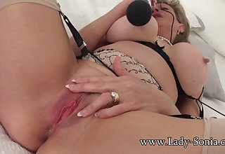 Lady Sonia edging their way clit with a vibrator