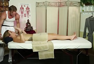Massage babe deepthroats slay rub elbows with masseur