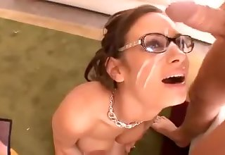 Beauty round glasses riding - hot facial video